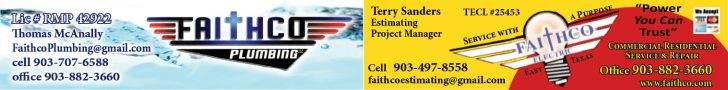 Faithco Plumbing Advertising Banner - 903-707-6588